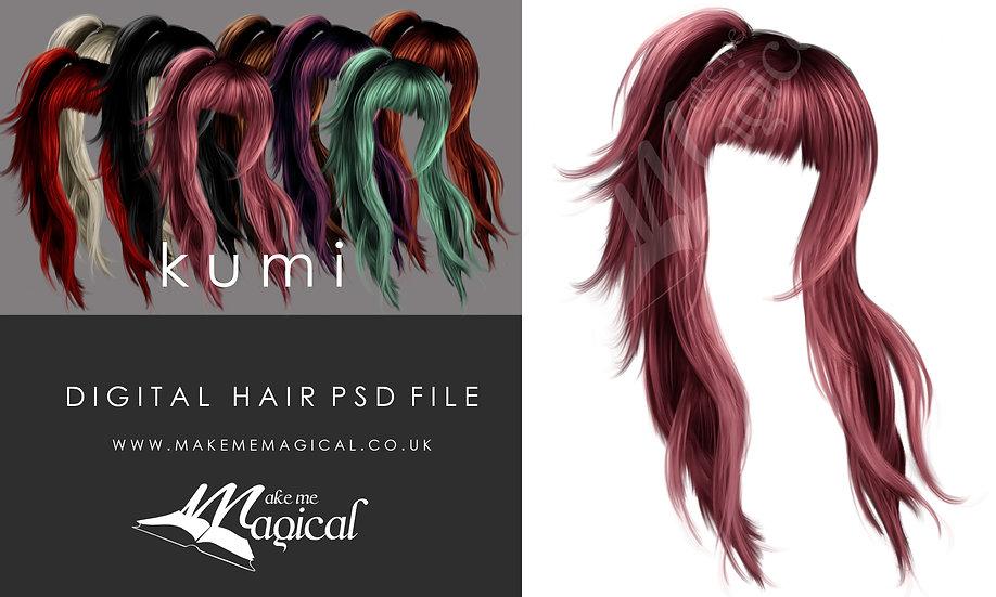 Kumi digital painted instant hair overlay psd by makememagical