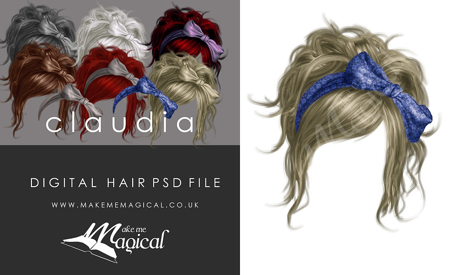 Claudia digital painted instant hair overlay psd by makememagical
