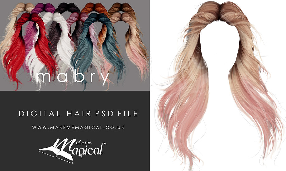 Mabry digital painted instant hair overlay psd by makememagical