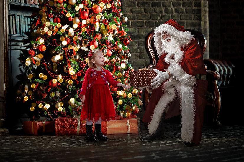 Santa giving a present digital backdrop by makememagical