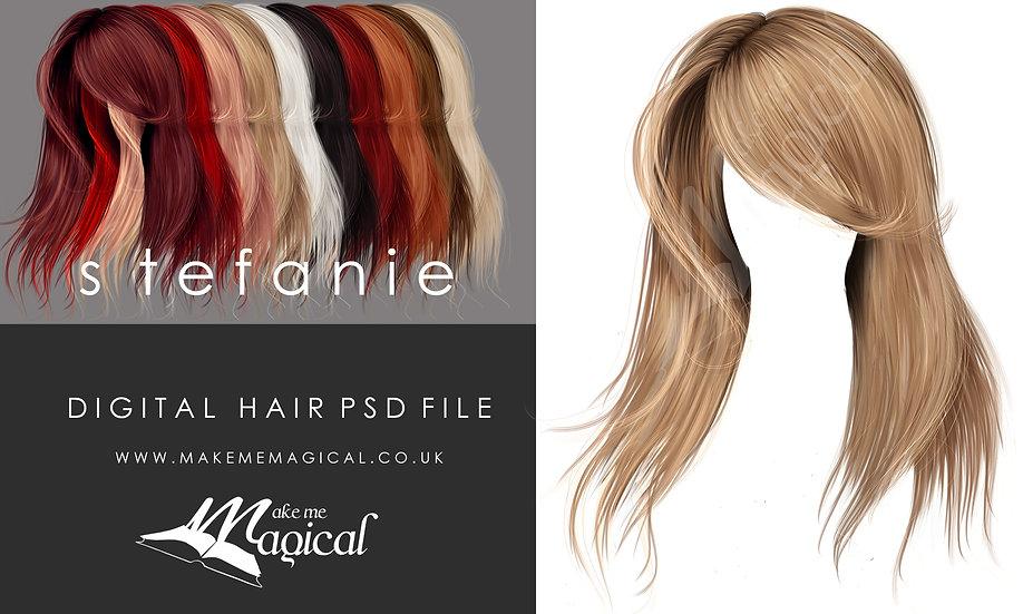 Stefanie digital painted instant hair overlay psd by makememagical
