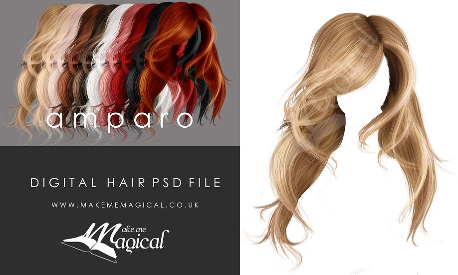 Amparo digital painted instant hair overlay psd by makememagical