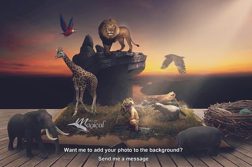 Safari digital backdrop, african digital background, lion backdrop, lion king