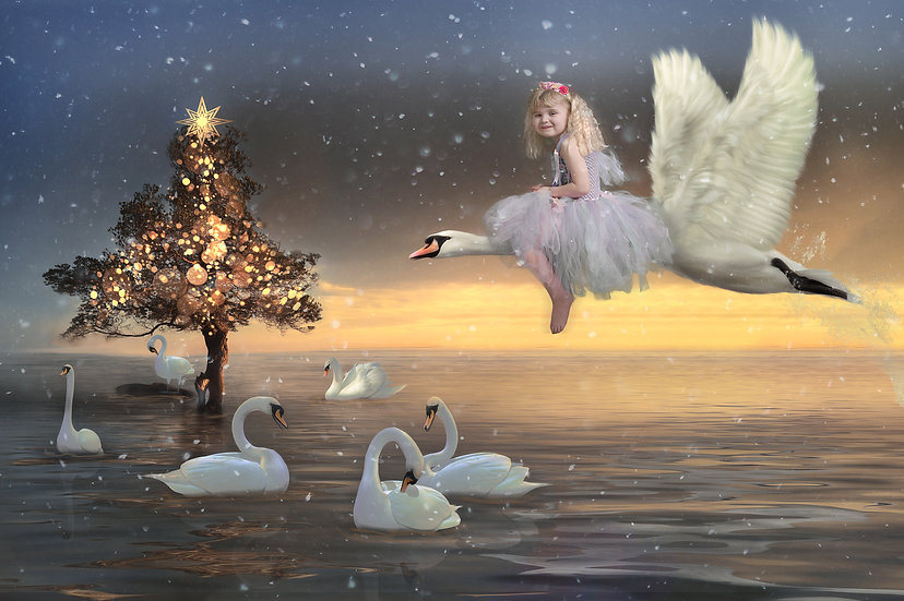 12 Days of Christmas - 7 Swans are Swimming Digtal Backdrop