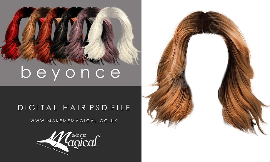 Beyonce digital painted instant hair overlay psd by makememagical