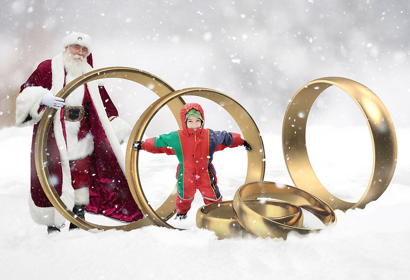 12 Days of Christmas - 5 Gold Rings Digtal Backdrop