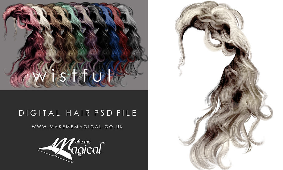 Wistful digital painted instant hair overlay psd by makememagical