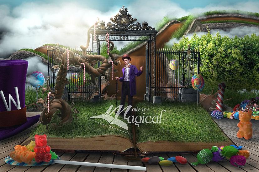 Chocolate Factory Digital Backdrop, Wonka, chcolate fantasy land background