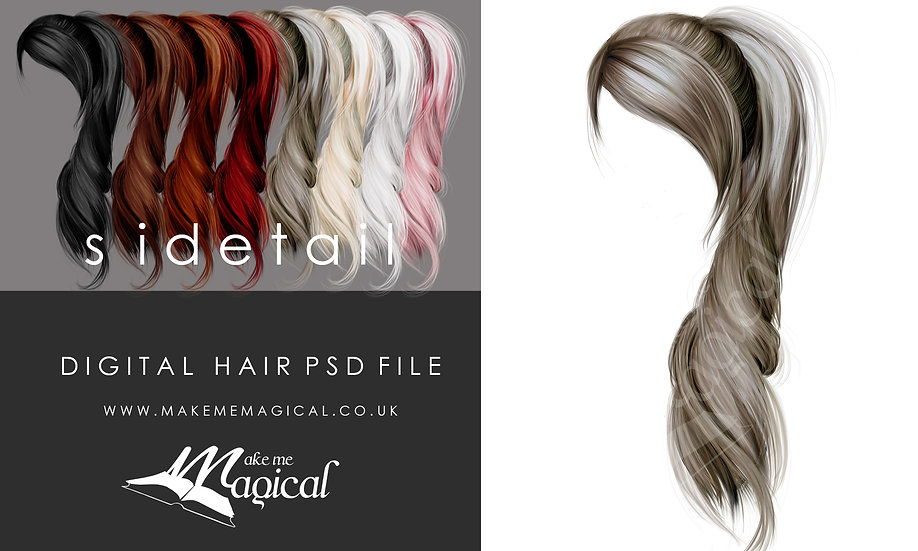 Sidetail digital painted instant hair overlay psd by makememagical