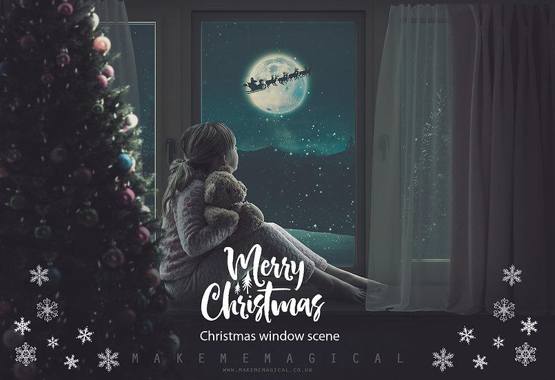 Christmas Window Digital Backdrop, Christmas digital window scene,Mult Christmas