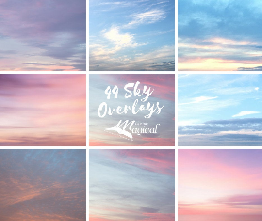44 x Digital Sky Overlay, Pastel Sky Overlays, Sunset Sky backgrounds, beach sky