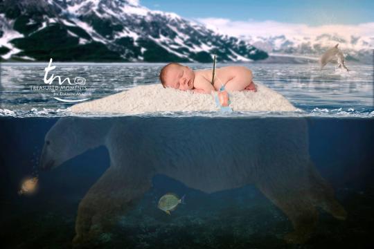Digital Polar Bear Background | Underwater Scene | Fishing Background