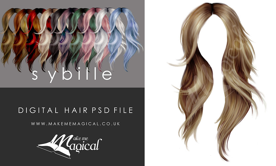 Sybille digital painted instant hair overlay psd by makememagical