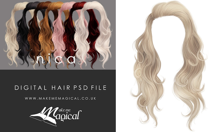 Nica digital painted instant hair overlay psd by makememagical