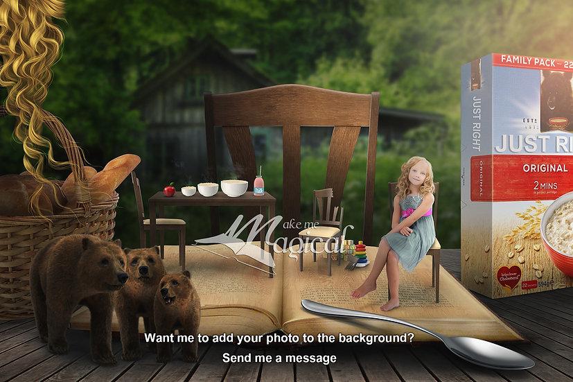 Goldilocks digital backdrop, digital background, 3 bears backdrop