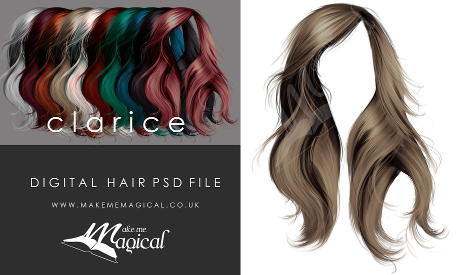 Clarice digital painted instant hair overlay psd by makememagical