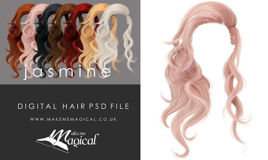 Jasmine digital painted instant hair overlay psd by makememagical