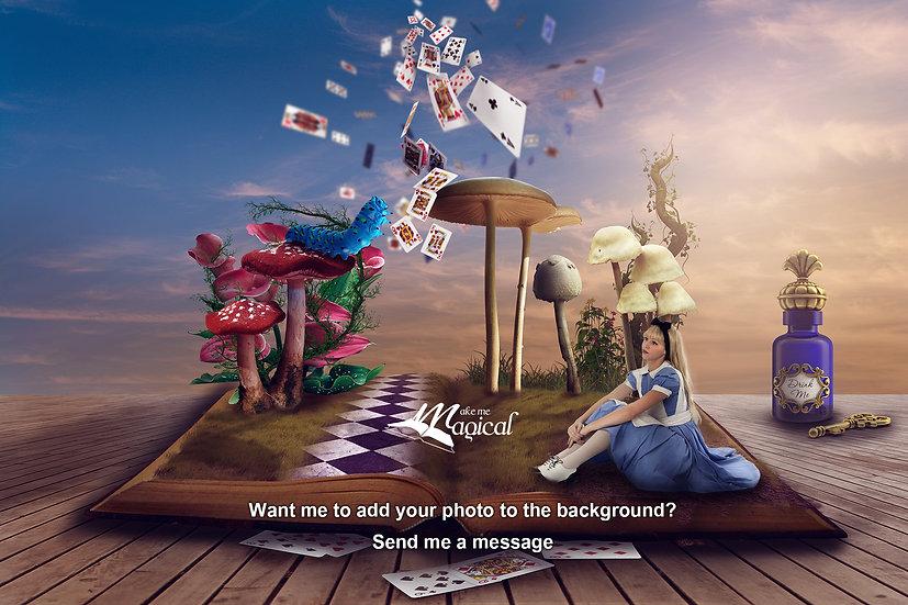 Alice digital backdrop, digital background, blue caterpiller, playing cards