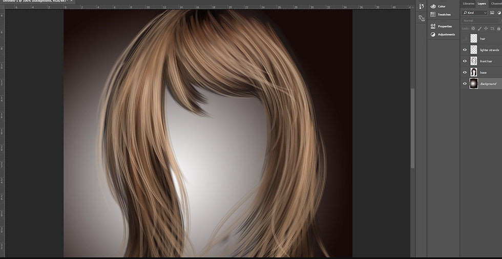 How to paint digital hair on Photoshop with Makememagical