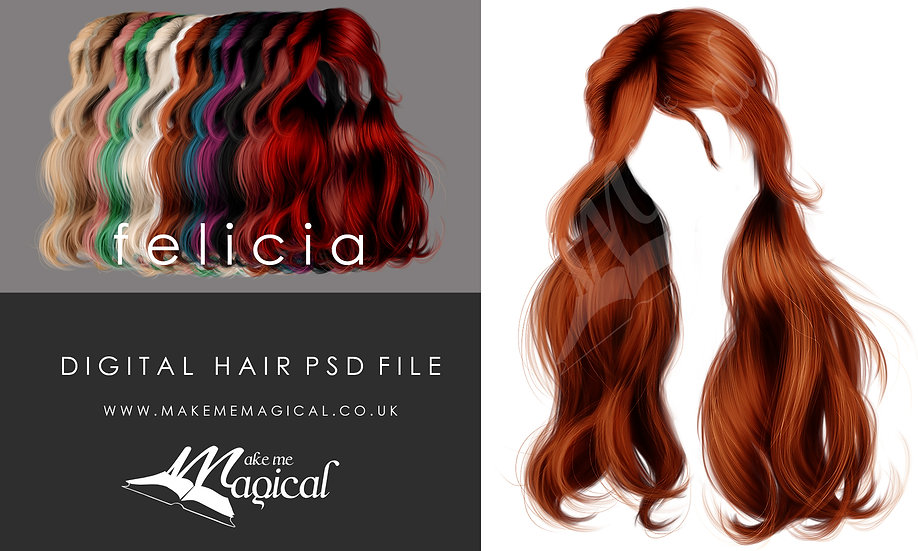 Felicia digital painted instant hair overlay psd by makememagical