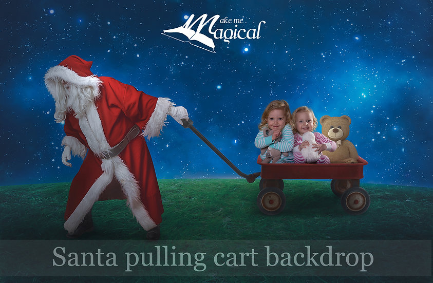 christmas digital background by makememagical, toy wagon with teddy