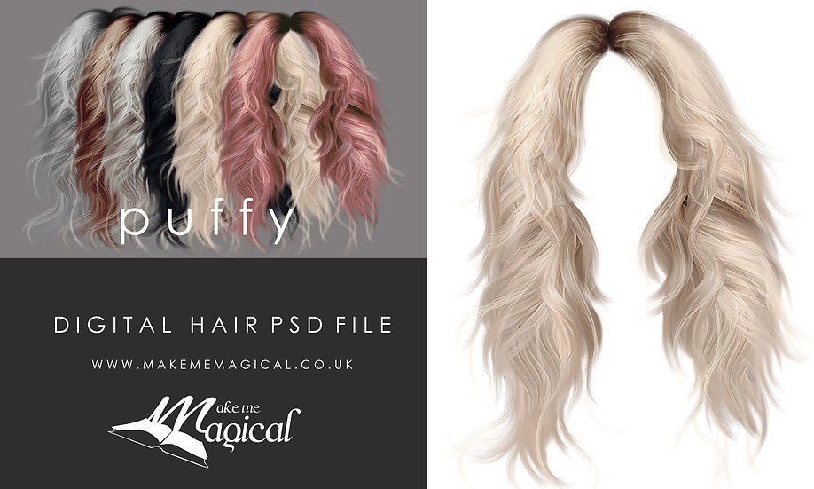 Puffy digital painted instant hair overlay psd by makememagical