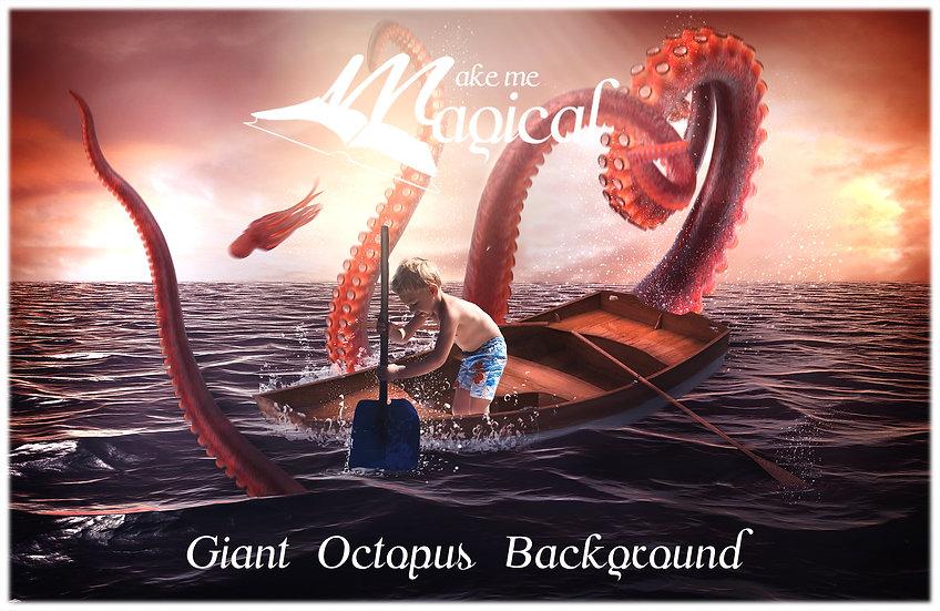Kraken digital backdrop, giant octopus digital background, sea monster