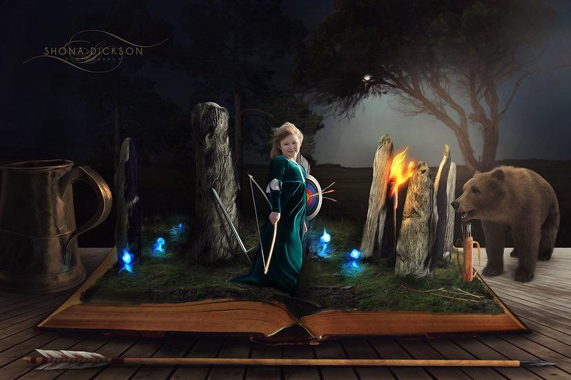 Digital Backdrop, circle of stones, archery, digital background, bear, brave