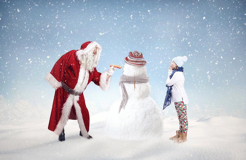 Santa putting Carrot on Snowman Christmas Snow scene digital backdrop by Makemem