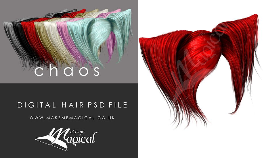 Chaos digital painted instant hair overlay psd by makememagical