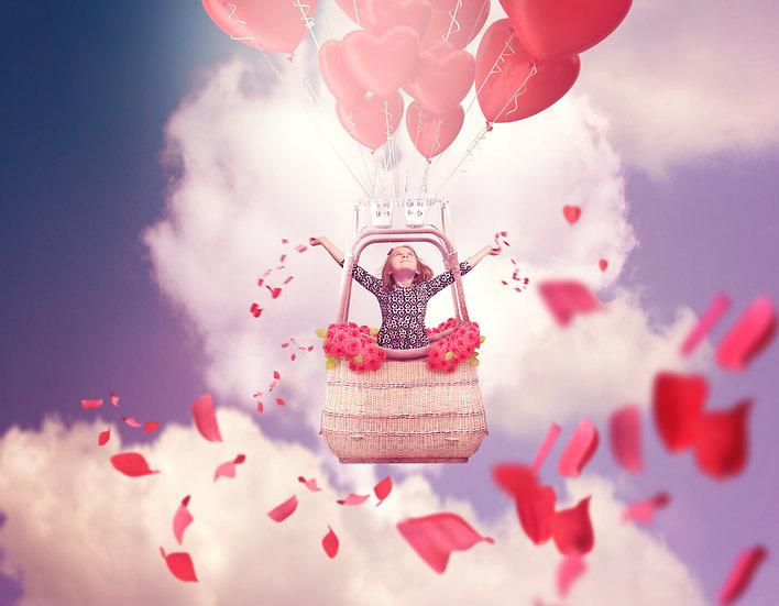 Heart shaped hot air balloon digital backdrop | Valentines digital background