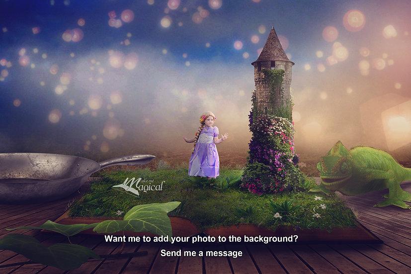 Rapunzel digital backdrop, princess digital background, rapunzel tower, fantasy