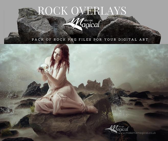 18 x Digital Rock Overlay Pack, Mermaid Rock pack, Stone rock digital Overlay,