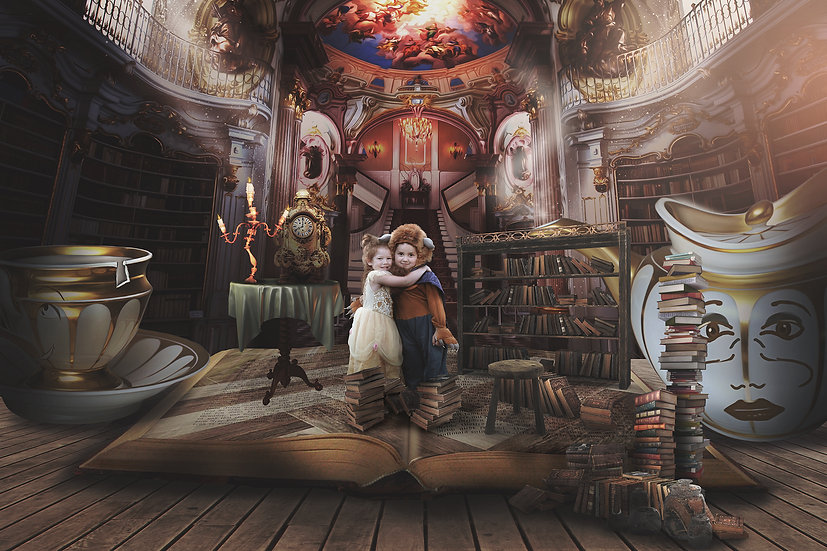 Beauty and the Beast backdrop, Belle library fantasy book miniature scene