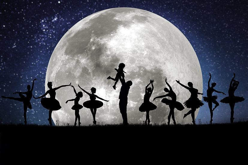 12 Days of Christmas - 9 Ladies Dancing Silhouette Moon Digtal Backdrop