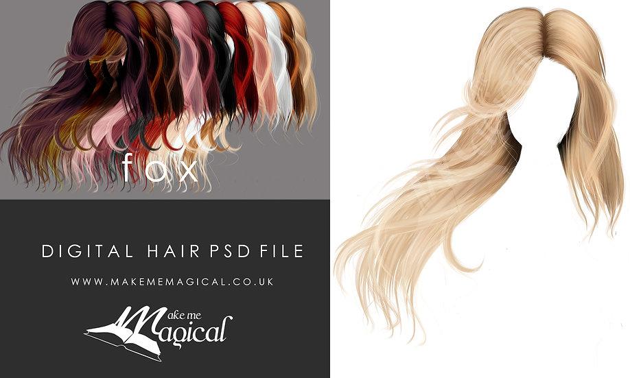 Fox digital painted instant hair overlay psd bymakememagical