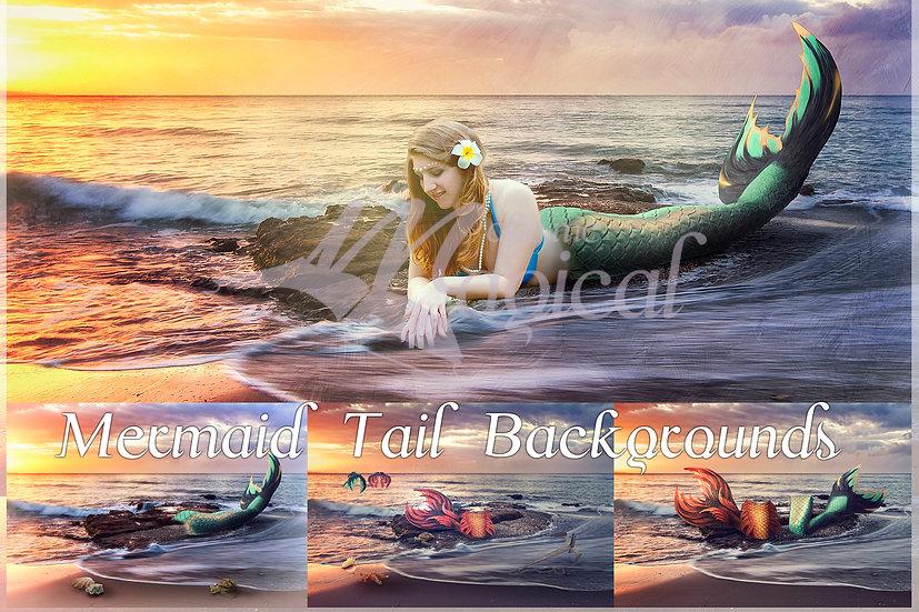 Mermaid Tails Background | Mermaid Background | Mermaid Backdrop | Ocean
