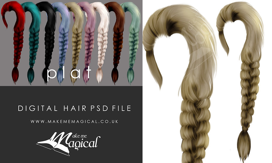 Plat digital painted instant hair overlay psd by makememagical