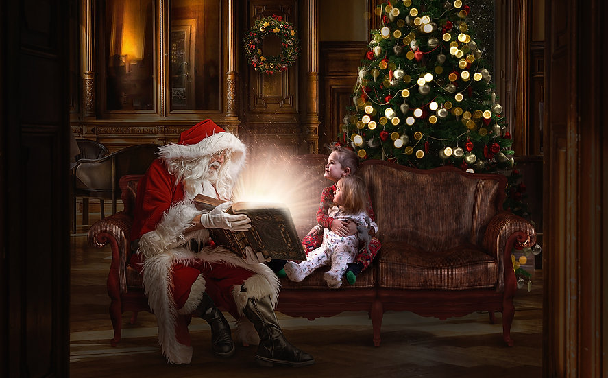 Christmas digital backdrop of santa reading a magical glowing book PSD