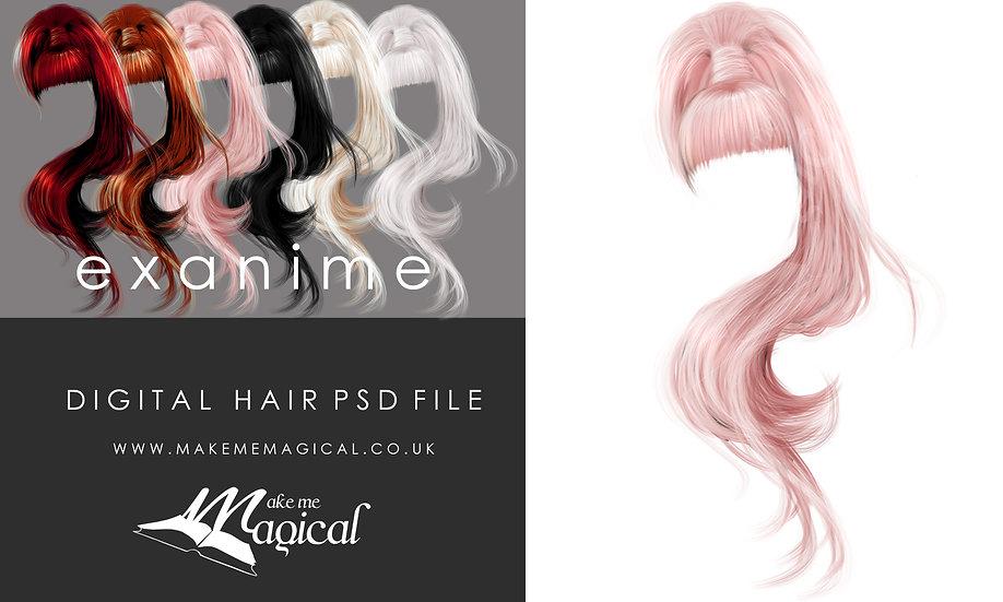 Exanime digital painted instant hair overlay psd by makememagical