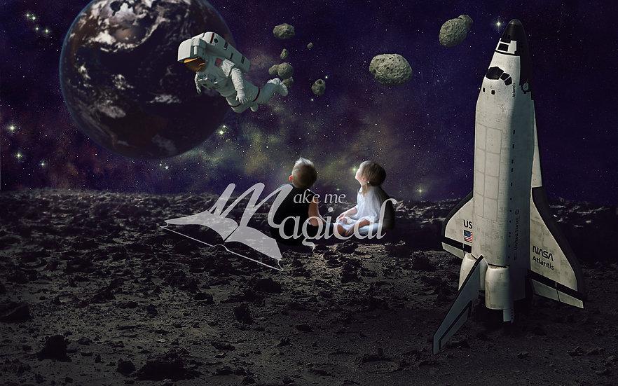 rocket digital backdrop | space digital background | moon | astronut