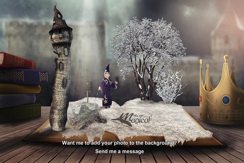 Sword in the Stone digital backdrop, digital background, king arthur, tower
