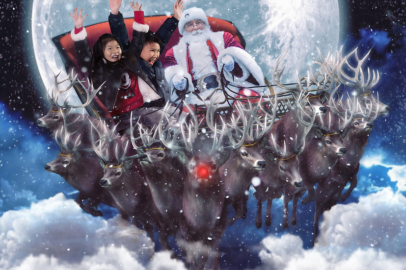 12 Days of Christmas - 10 Lords are Leaping (Plus Rudolph)  Digtal Backdrop