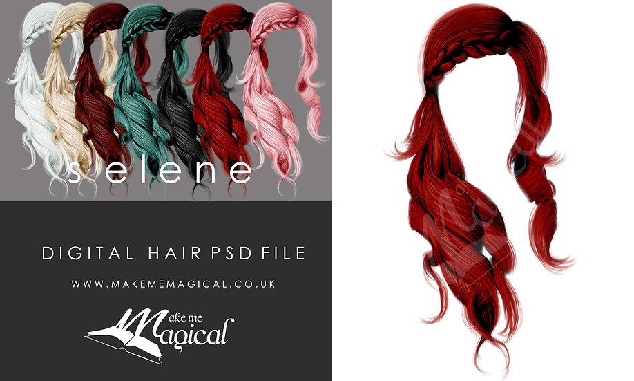 Selene digital painted instant hair overlay psd by makememagical