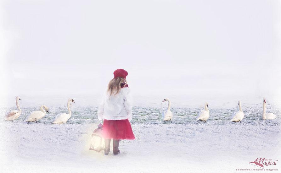 Seven swans  - Christmas backdrop