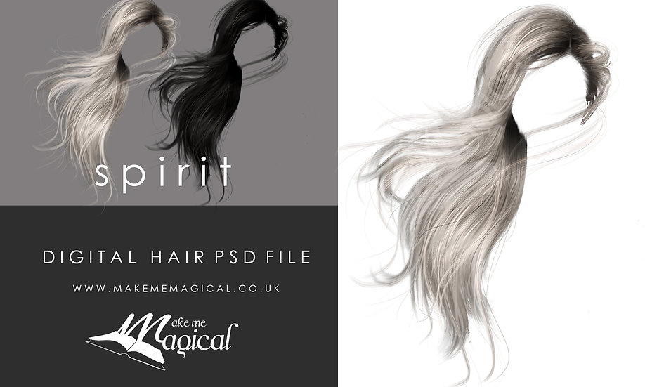 Spirit digital painted instant hair overlay psd by makememagical