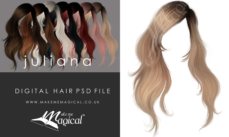Juliana digital painted instant hair overlay psd by makememagical