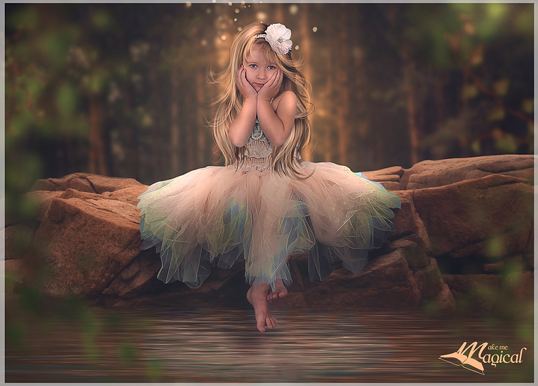 Enchanted fairy forest waters edge digital backdrop | magical pond digital photo