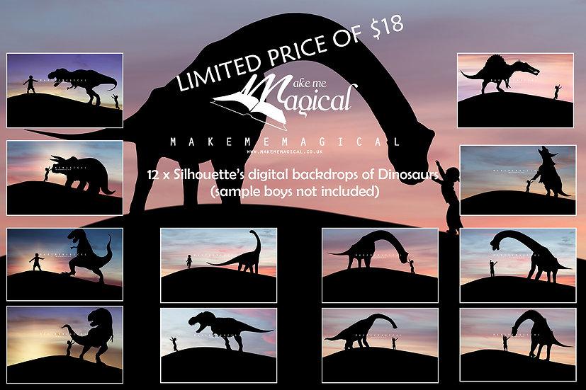 12 x Dinosaur Silhouette Digital Backdrops, Dinosaur digital backgrounds