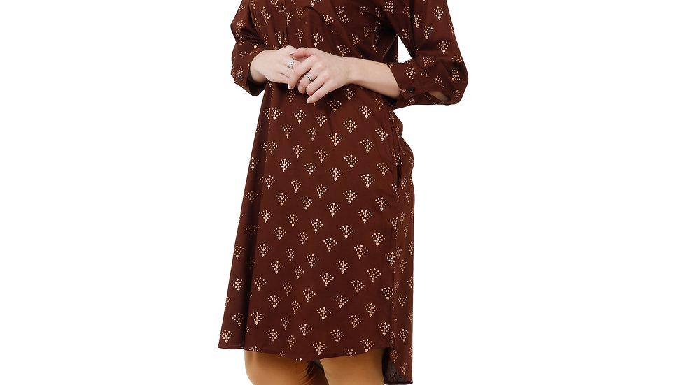 UNFAKENOW  Women Printed Cotton Rayon Blend A-line Kurta  (Brown)